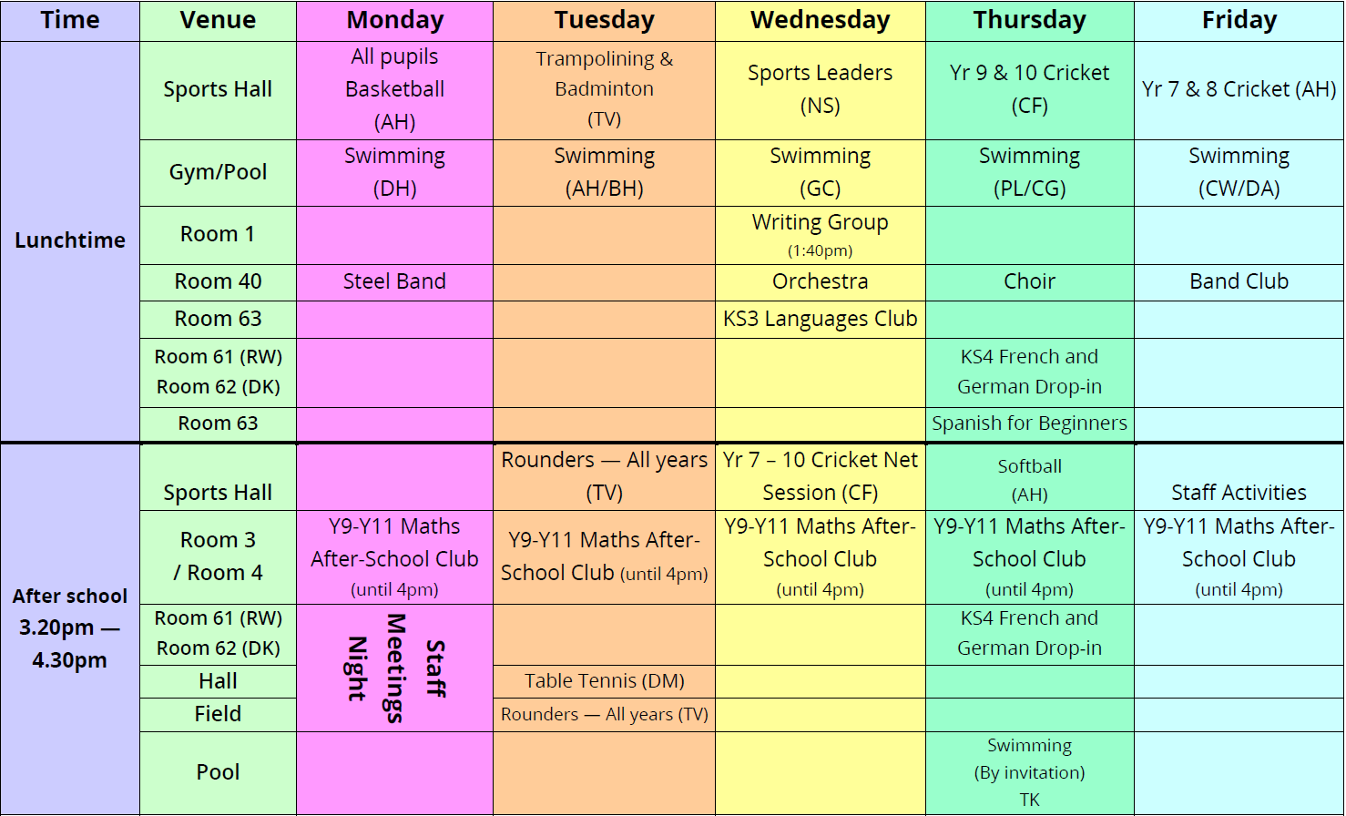 Extra Curricular Activities — Summer Term