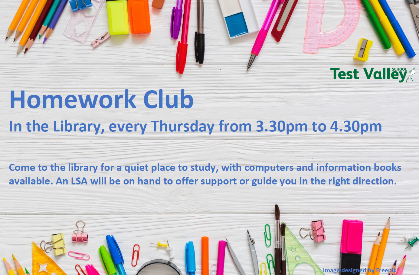Homework Club every Thursday 3.30 to 4.30pm