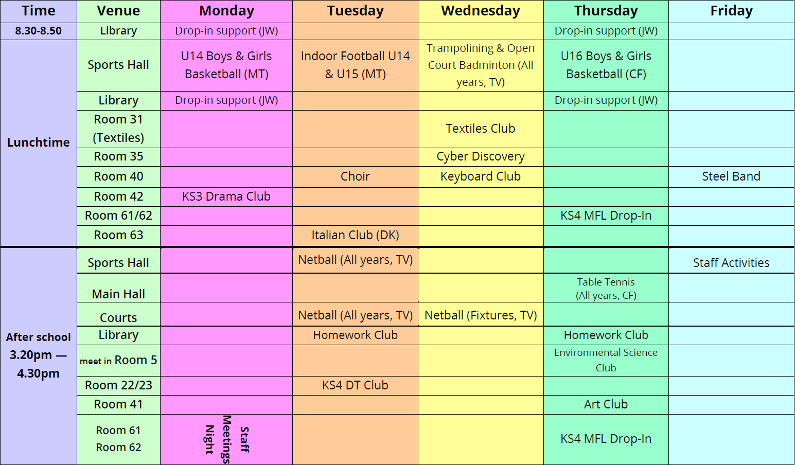 Extra Curricular Activities Timetable